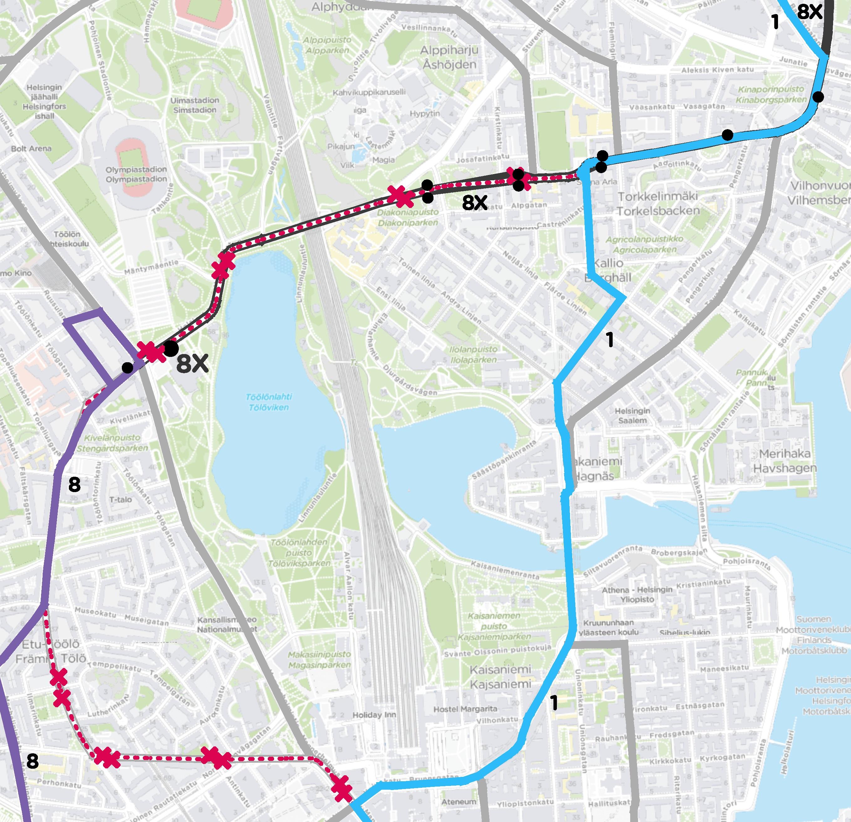 Poikkeusreittikartta 30.8. alkaen