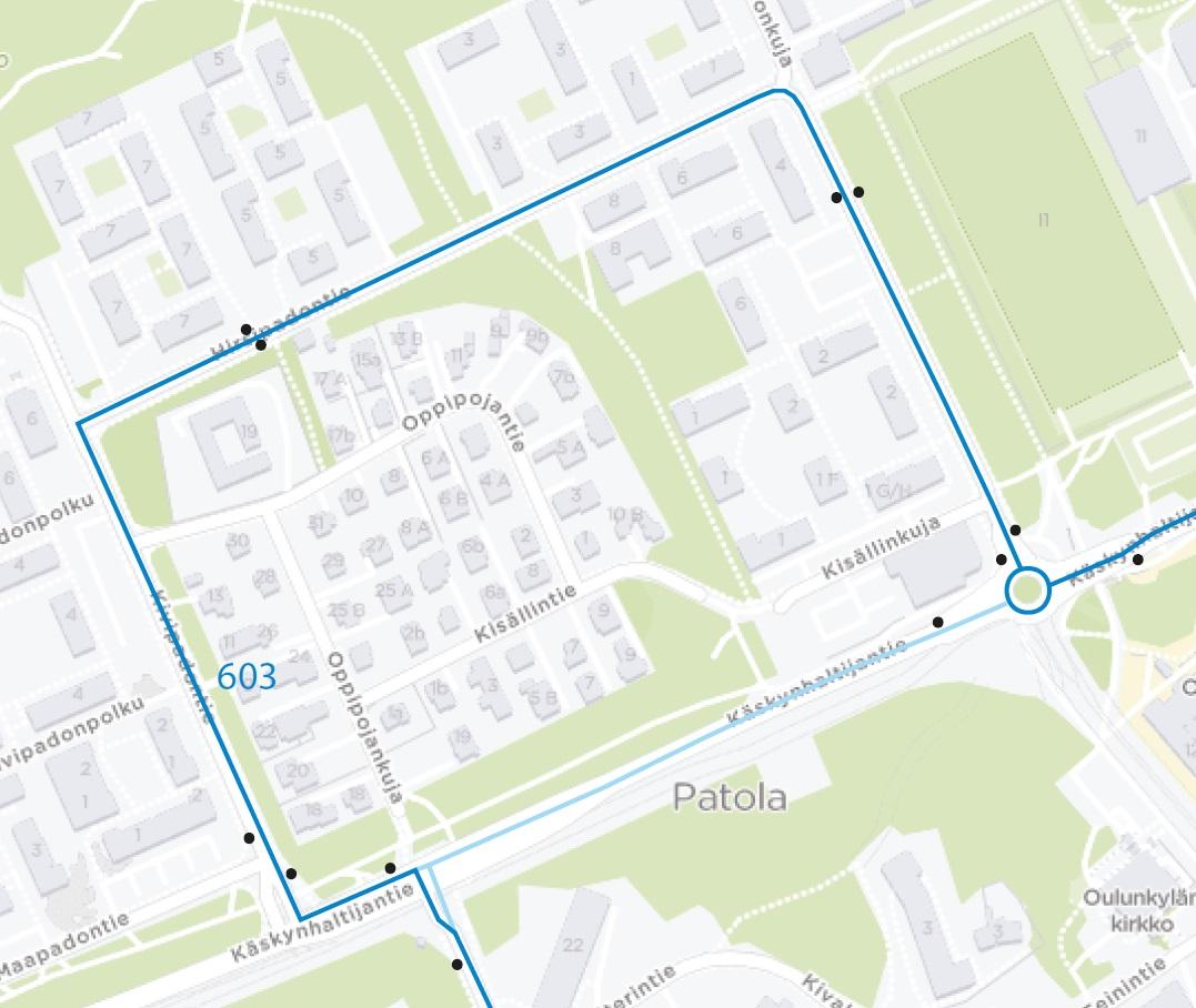 Kartta: 603 poikkeusreitti Patolassa