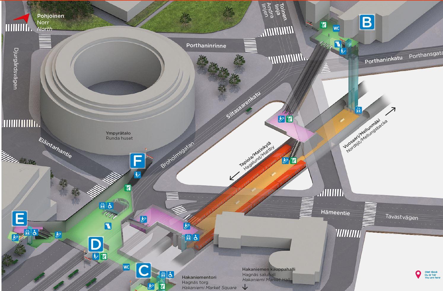 Lähin esteetön sisäänkäynti Linjoilta on Siltasaarenkadun E-sisäänkäynti. E-ovi on Siltasaarenkadun ja Eläintarhantien risteyksestä n. 50 metriä kohti Pitkääsiltaa torista katsottuna kadun toisella laidalla.