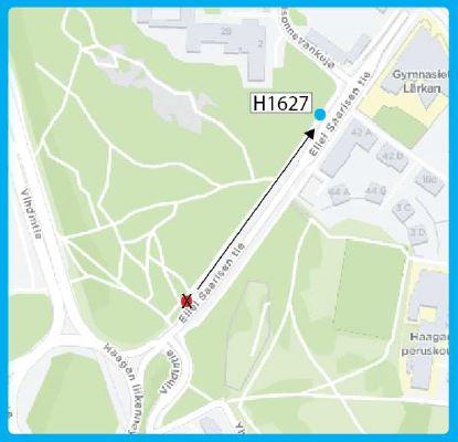 Kartta siirtyvästä pysäkistä H1627