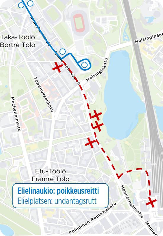 Kartta bussien poikkeusreitistä Elielinaukion osalta.