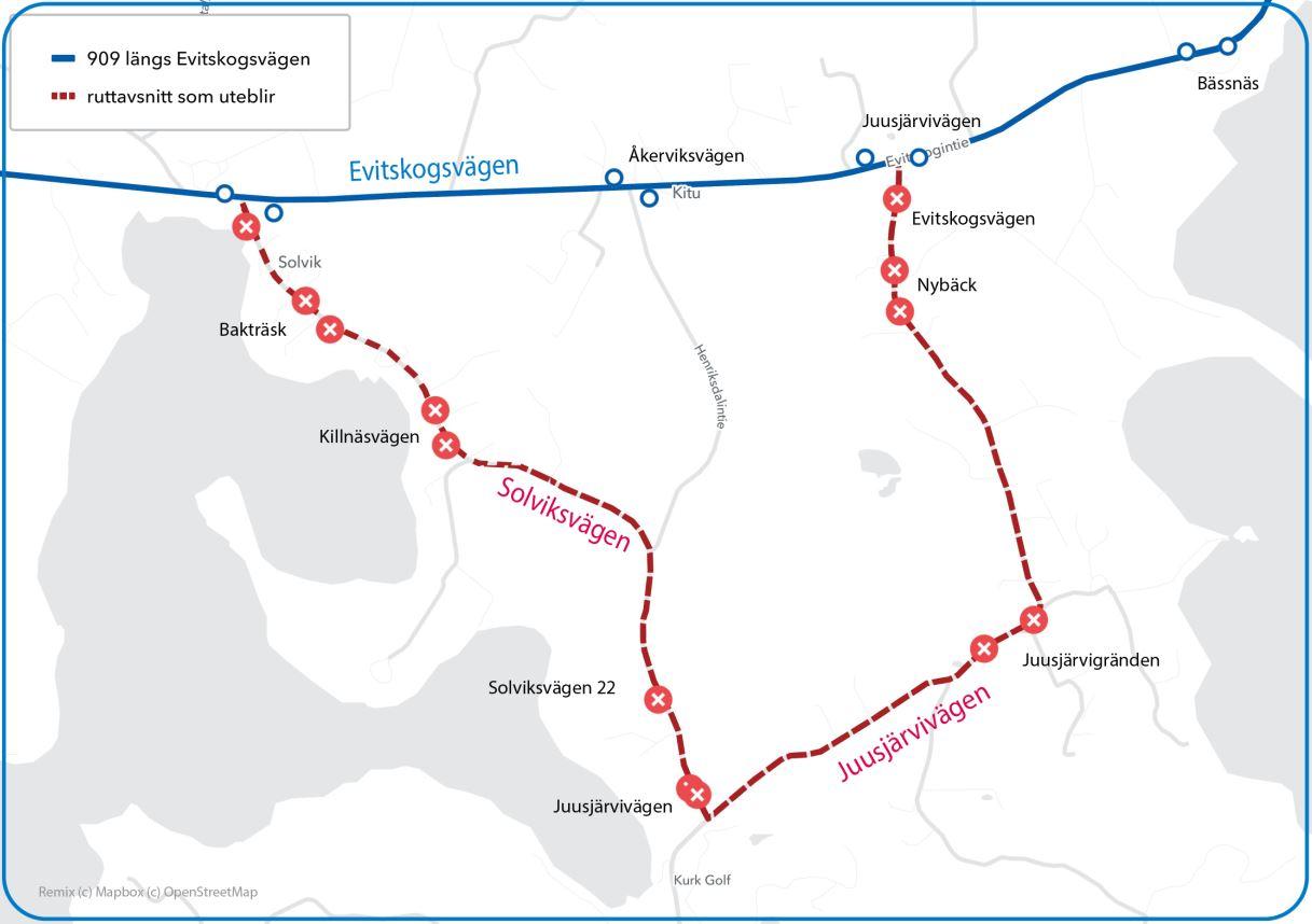 Karta över rutten längs Evitskogsvägen och ruttavsnittet som uteblir
