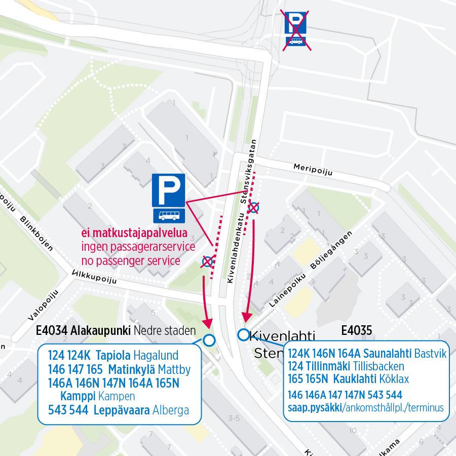 En karta över hållplatser som flyttas