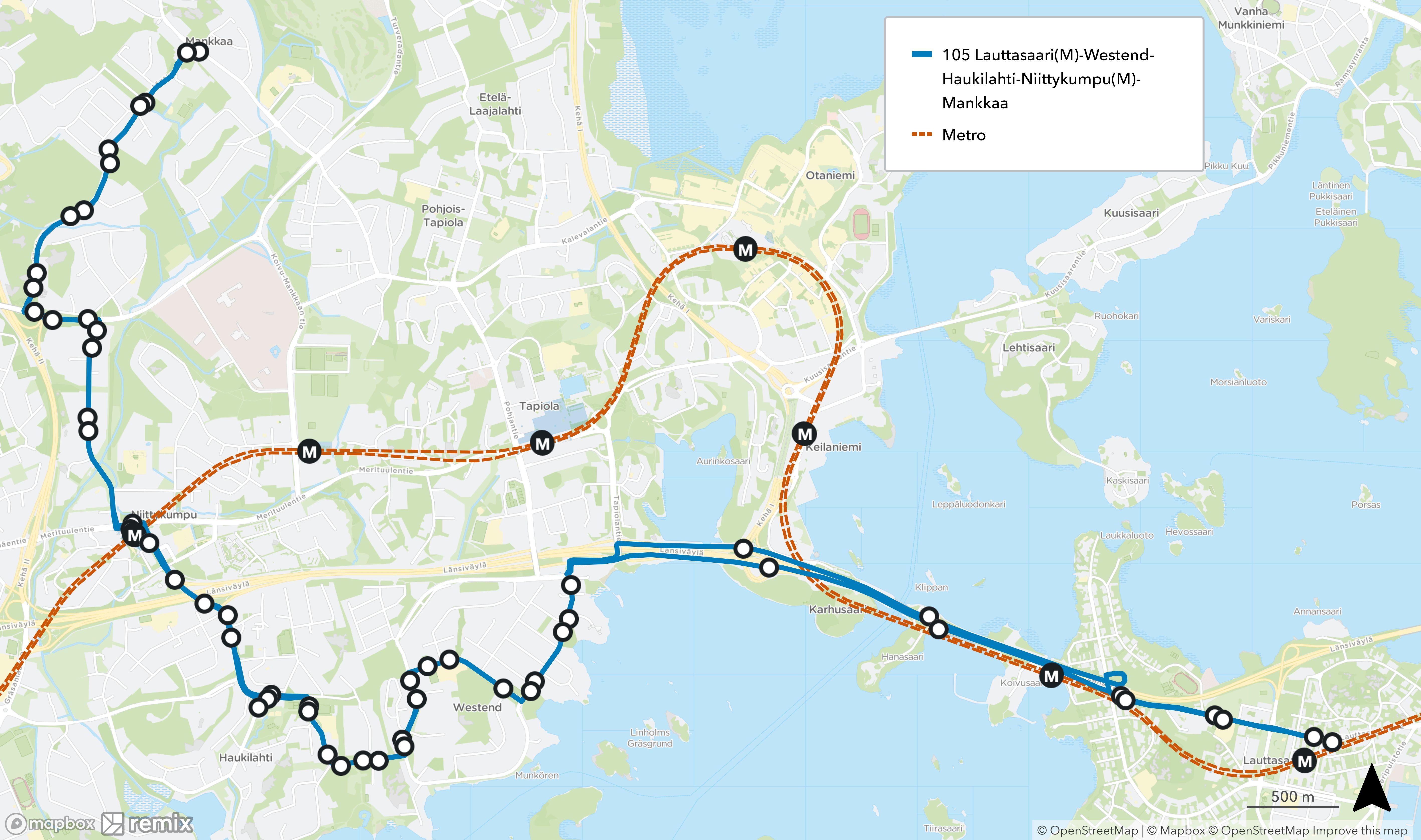 Uusi linja 105 kulkisi reittiä Lauttasaari - Westend - Haukilahti - Niittykumpu - Mankkaa reittiä Lauttasaarentie - Länsiväylä - Westendintie - Hiiralantie - Westendintie - Toppelundintie - Haukilahdenkatu - Merituulentie - Olarinluoma - Mankkaanlaaksontie - Kokinkyläntie.