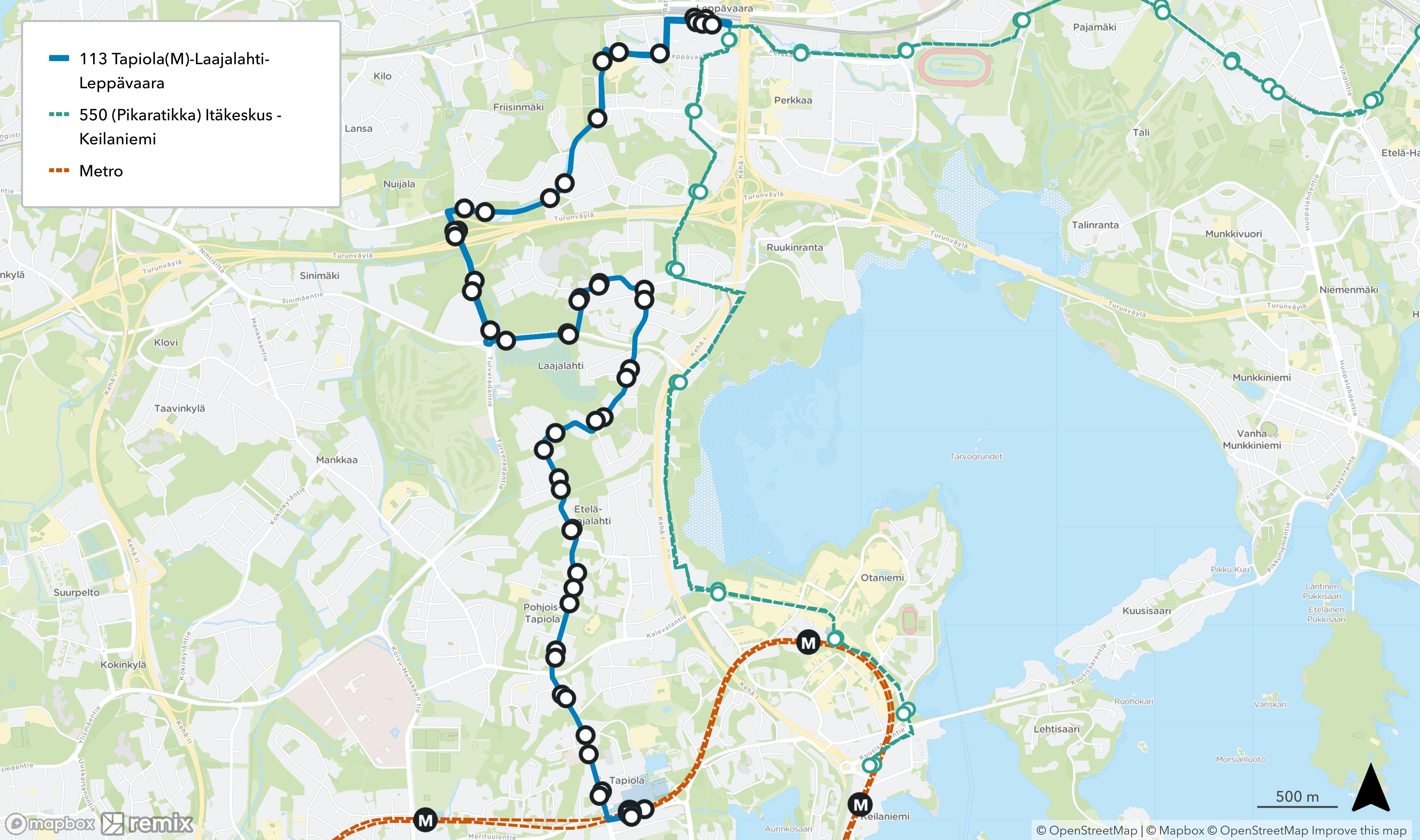 Linja 113 muuttuisi kulkemaan Laajalahdesta Leppävaaraan reittiä Muolaantie - Kirvuntie - Antreantie - Ilmeentie - Turvesuontie - Turveradantie - Friisinmäentie - Säterinpuistotie - Leppävaarankatu - Ratsukatu.