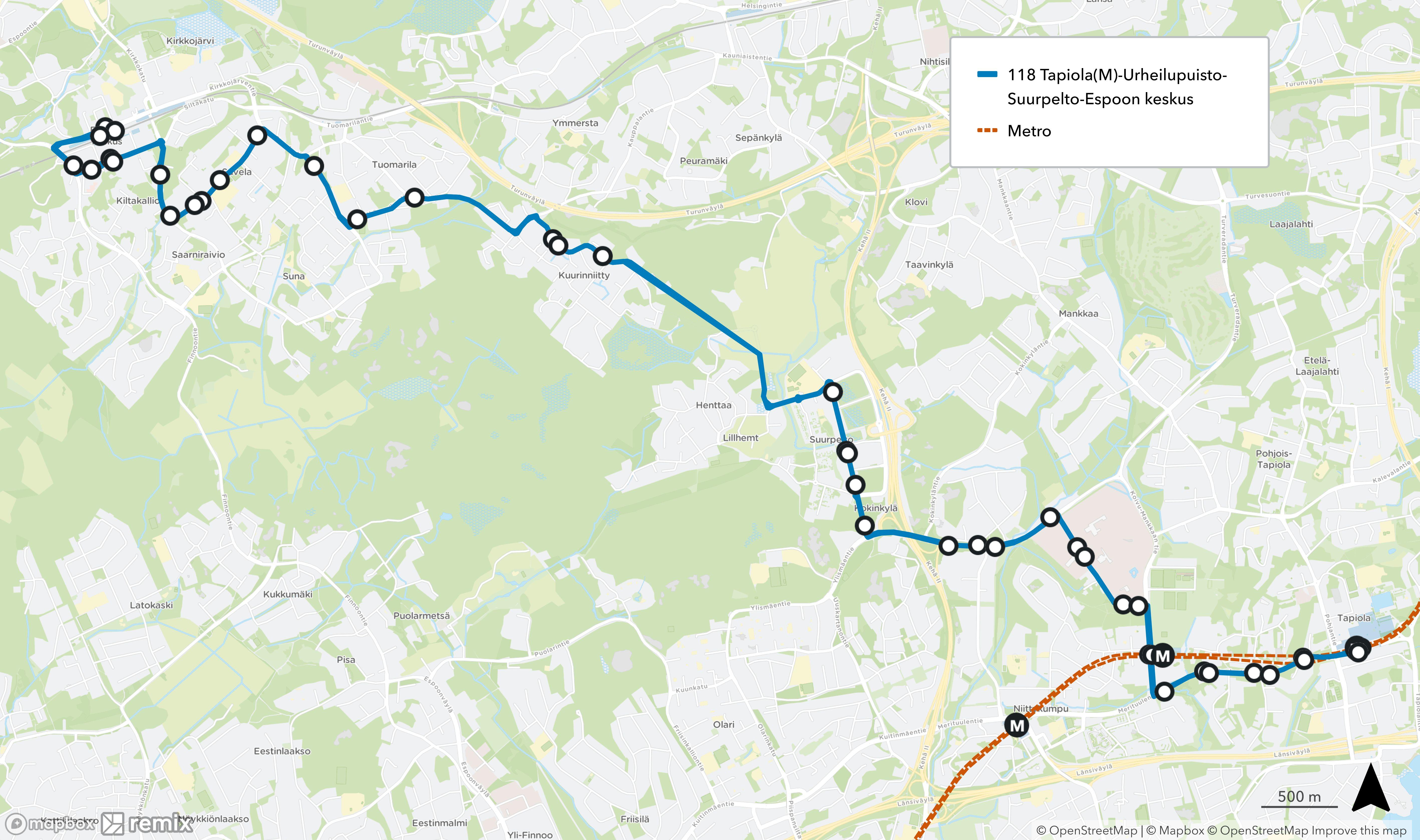 Linja 118 siirtyy kulkemaan Tapiolan ja Suurpellon välillä Niittykummun sijaan Urheilupuiston ja Orionin kautta reittiä Merituulentie - Koivu-Mankkaantie - Orionintie - Mankkaanlaaksontie.