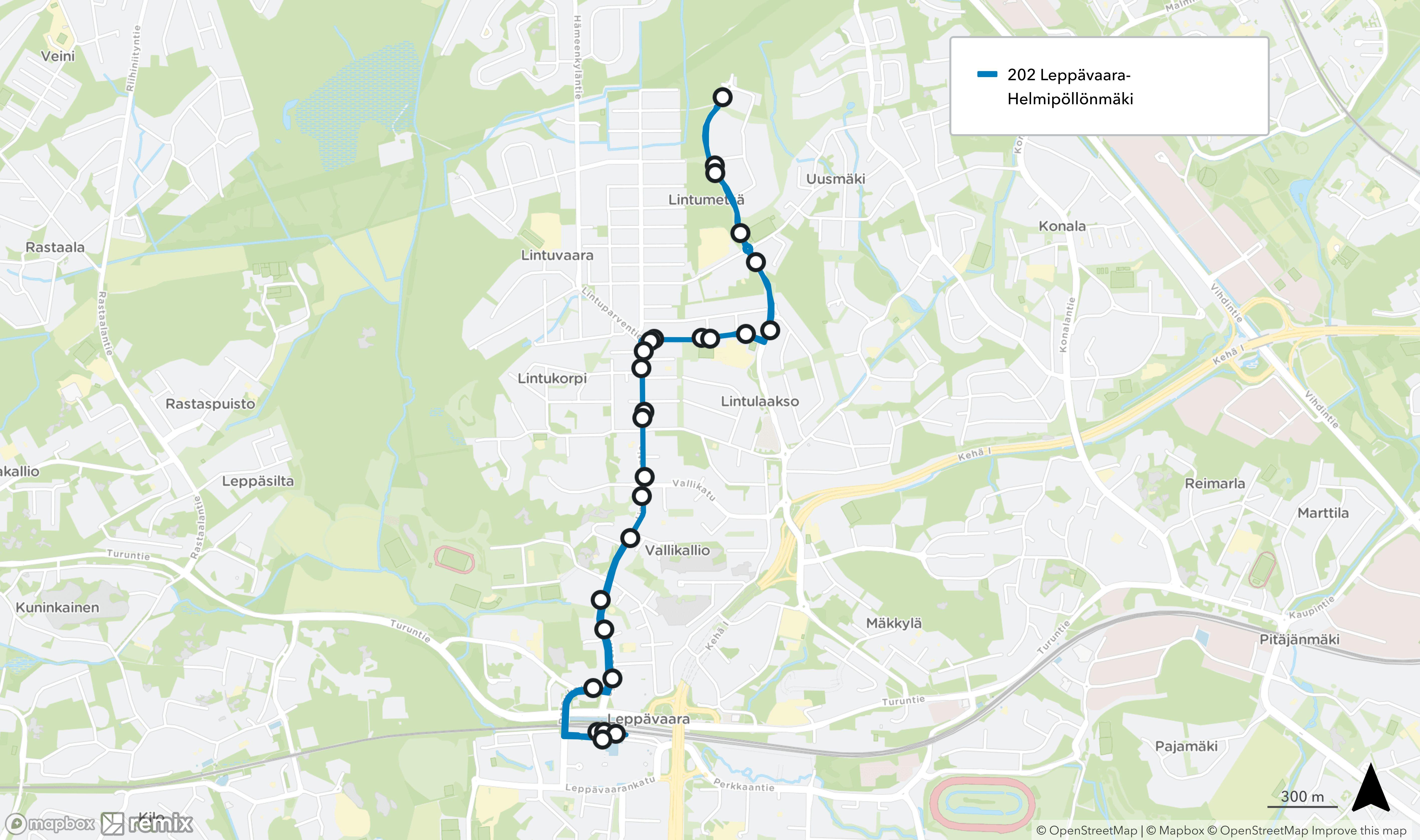 Linjan 202 reitti lyhenee välille Leppävaaran asema - Helmipöllönmäki.