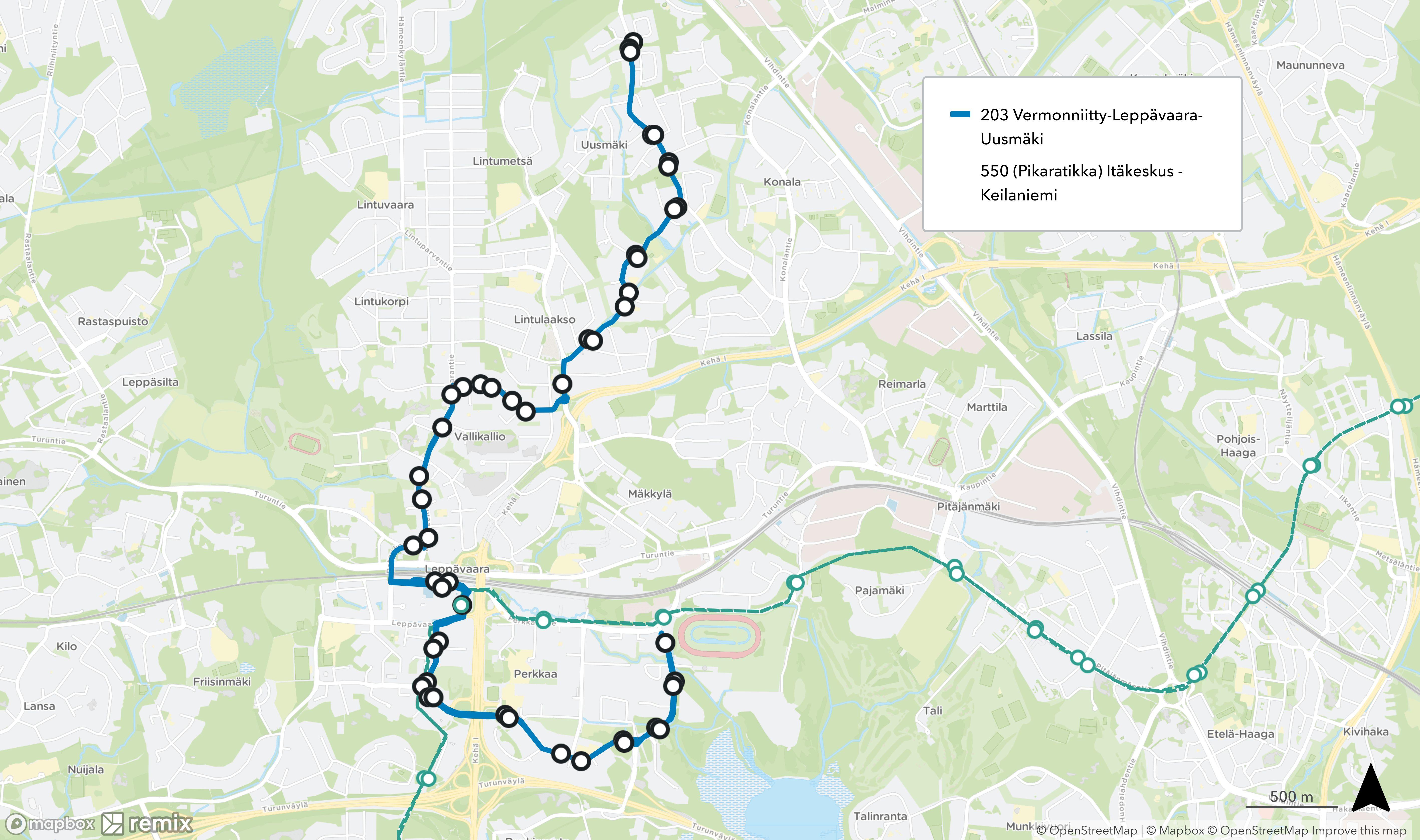 Linja 203 pitenee Leppävaaran asemalta Vermonniittyyn reittiä Hevosenkenkä – Leppävaarankatu - Albergan esplanadi – Säterinkatu – Itsehallintotie – Vermontie.