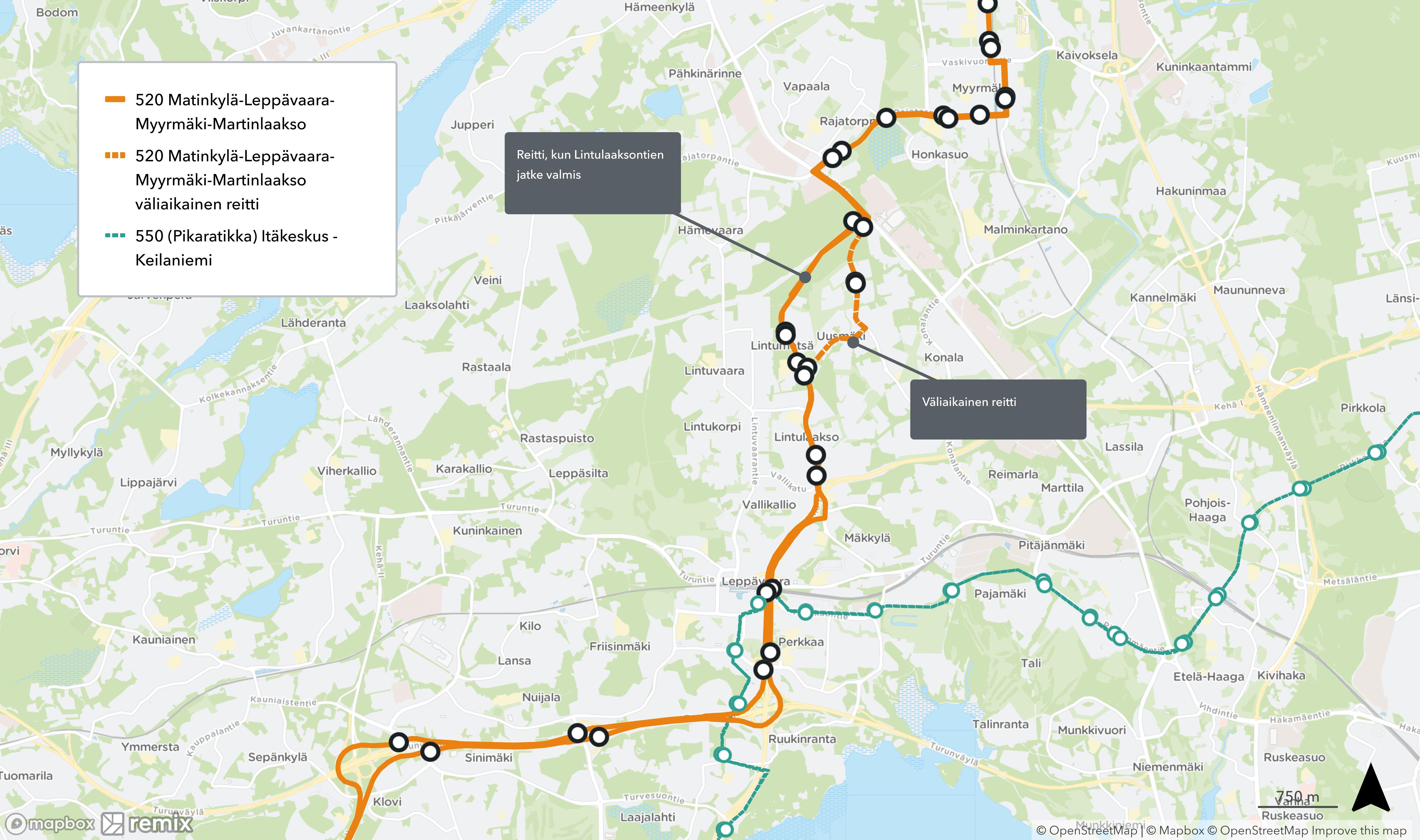 Runkolinja 520 kulkee ennen Lintulaaksontien jatkeen valmistumista väliaikaisesti Leppävaarasta Myyrmäkeen Uusmäen kautta reittiä Lintulaaksontie - Sotilastorpantie - Vanha Hämeenkyläntie - Vihdintie.
