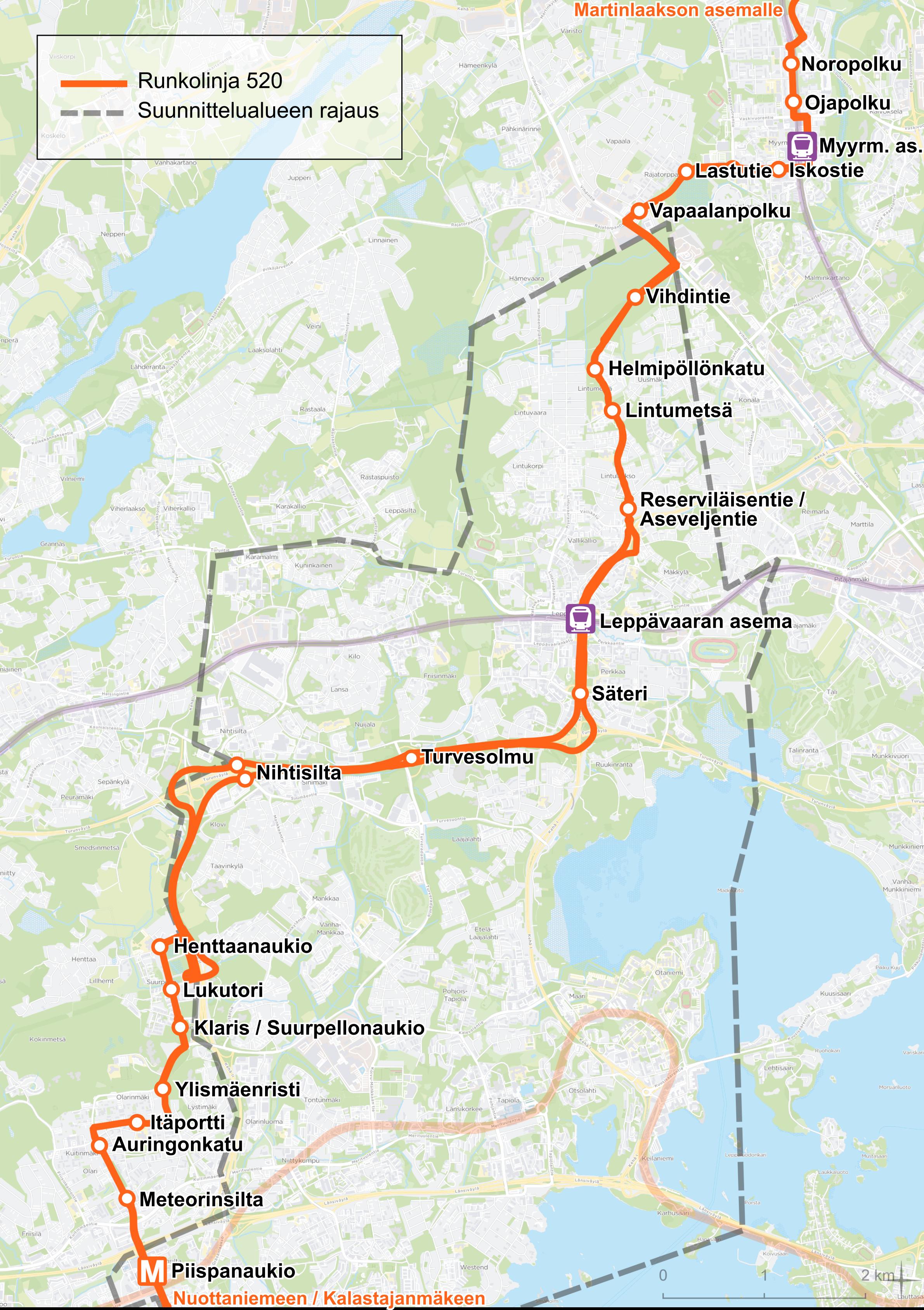 Kartalla runkolinjan 520 reitti. Linja ajaa Matinkylästä Olariin ja Suurpeltoon. Sieltä linja jatkaa Kehä II:sta ja Turunväylää Kehä I:lle. Linja poistuu Kehä I:ltä Vallikallion liittymästä Lintulaaksontielle, josta linjan on tarkoitus jatkaa vielä rakentamatonta katuyhteyttä pitkin Rajatorpantielle. Rajatorpantieltä linja jatkaa Myyrmäkeen ja Martinlaaksoon.