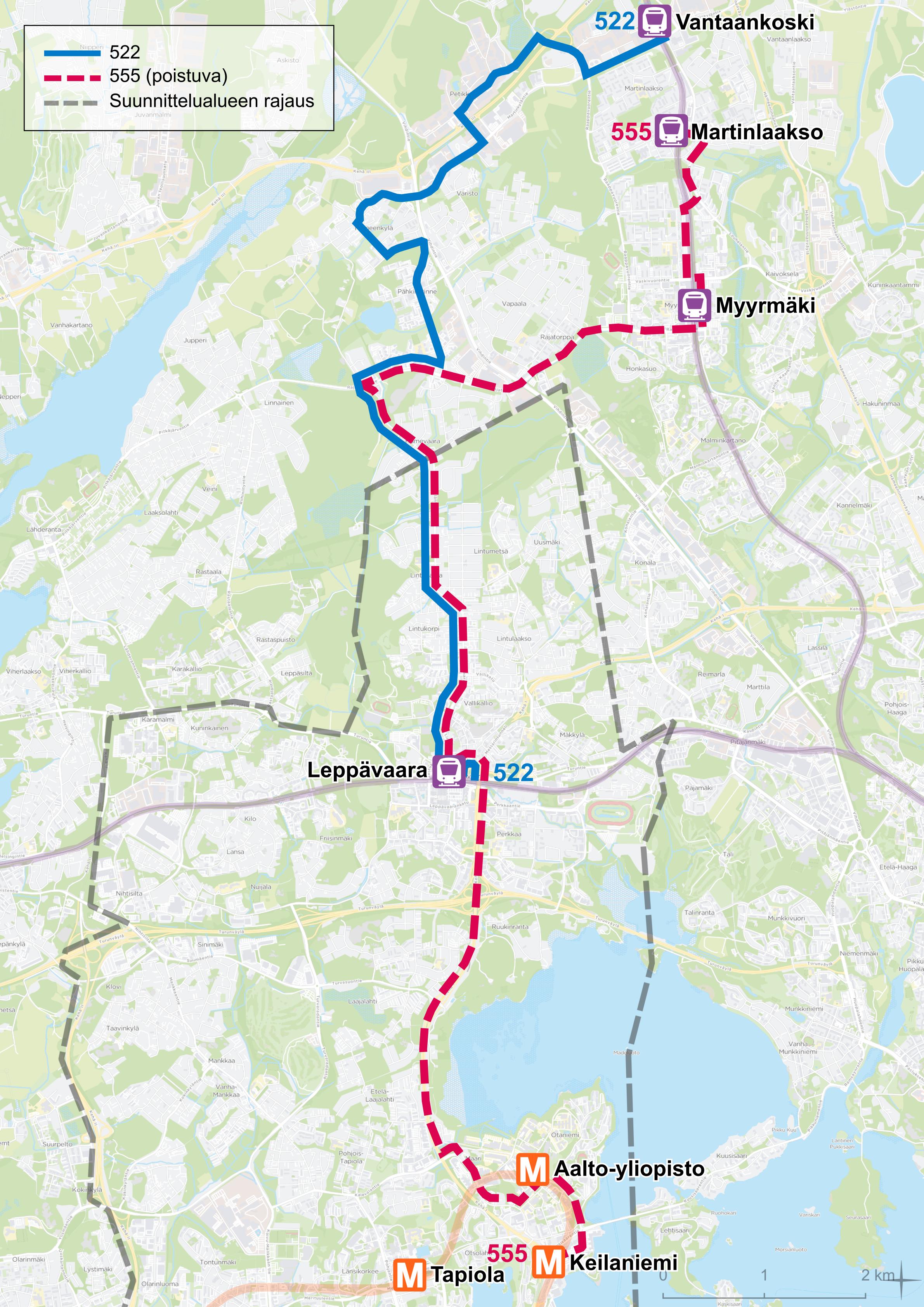 Nykyinen linja 555 korvataan linjalla 522, joka ajaa Espoossa 555B:n reittiä. Pohjoisessa linja ajaa Vantaankoskelle Pähkinärinteen kautta.