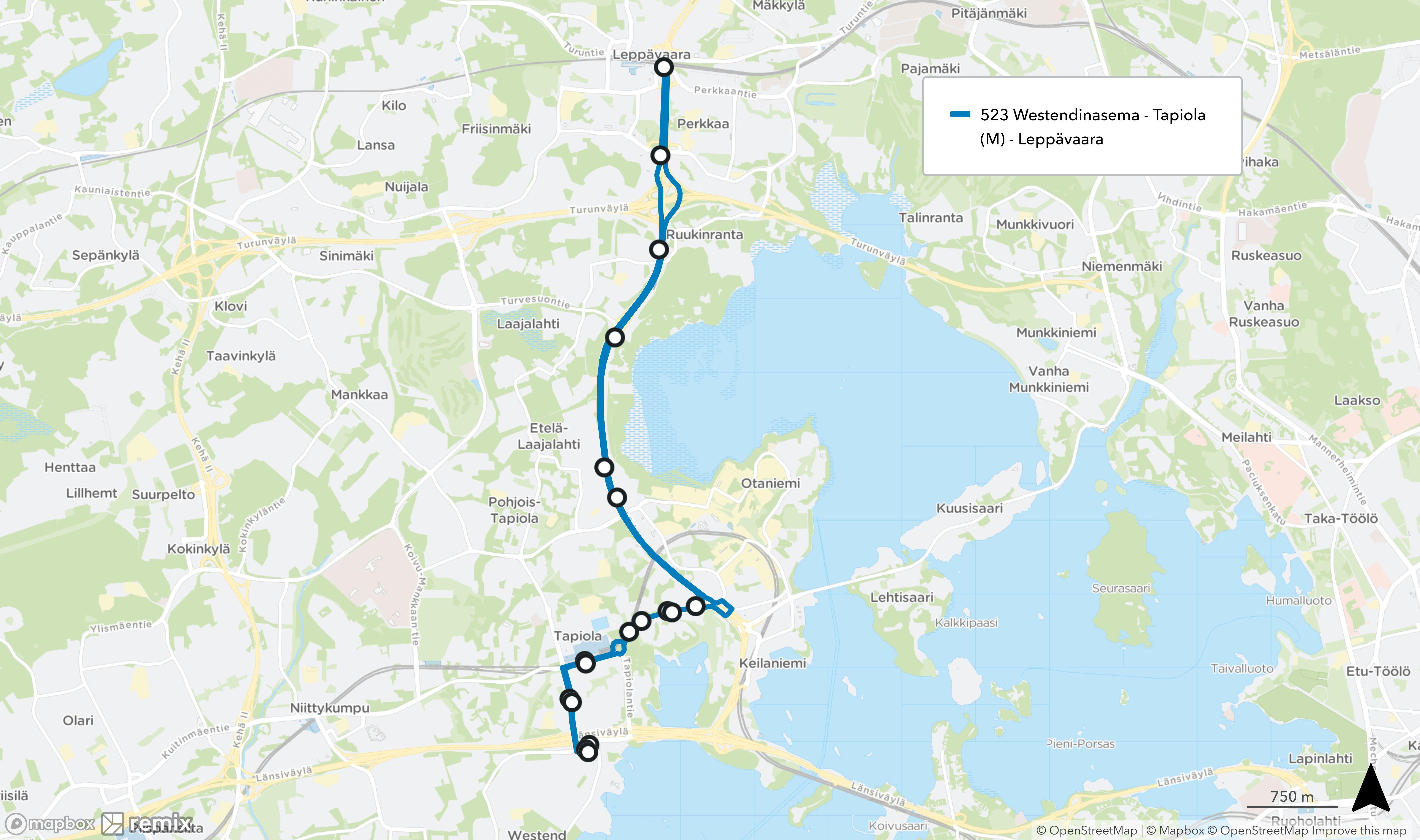 Uusi linja 523 Westendinasema - Tapiola - Kehä I - Leppävaara reittiä Westendinkatu - Etelätuulentie - Merituulentie - Tapiolantie - Kehä I.