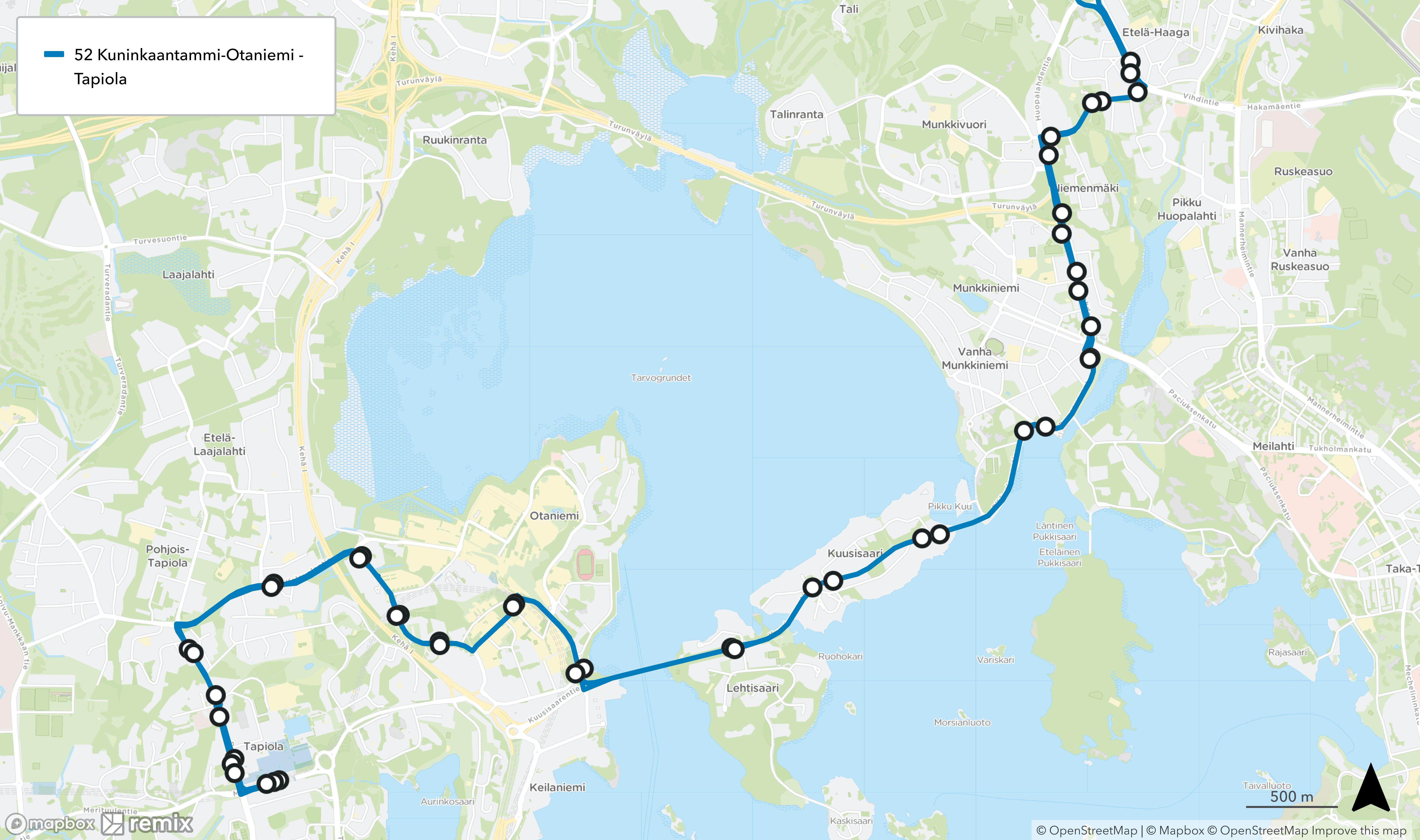 Linjan 52 reitti pitenisi siten, että bussi kulkisi Otaniemensillalta Tapiolaan reittiä Otaniementie - Vuorimiehentie - Tekniikantie - Kalevalantie - Pohjantie - Merituulentie.