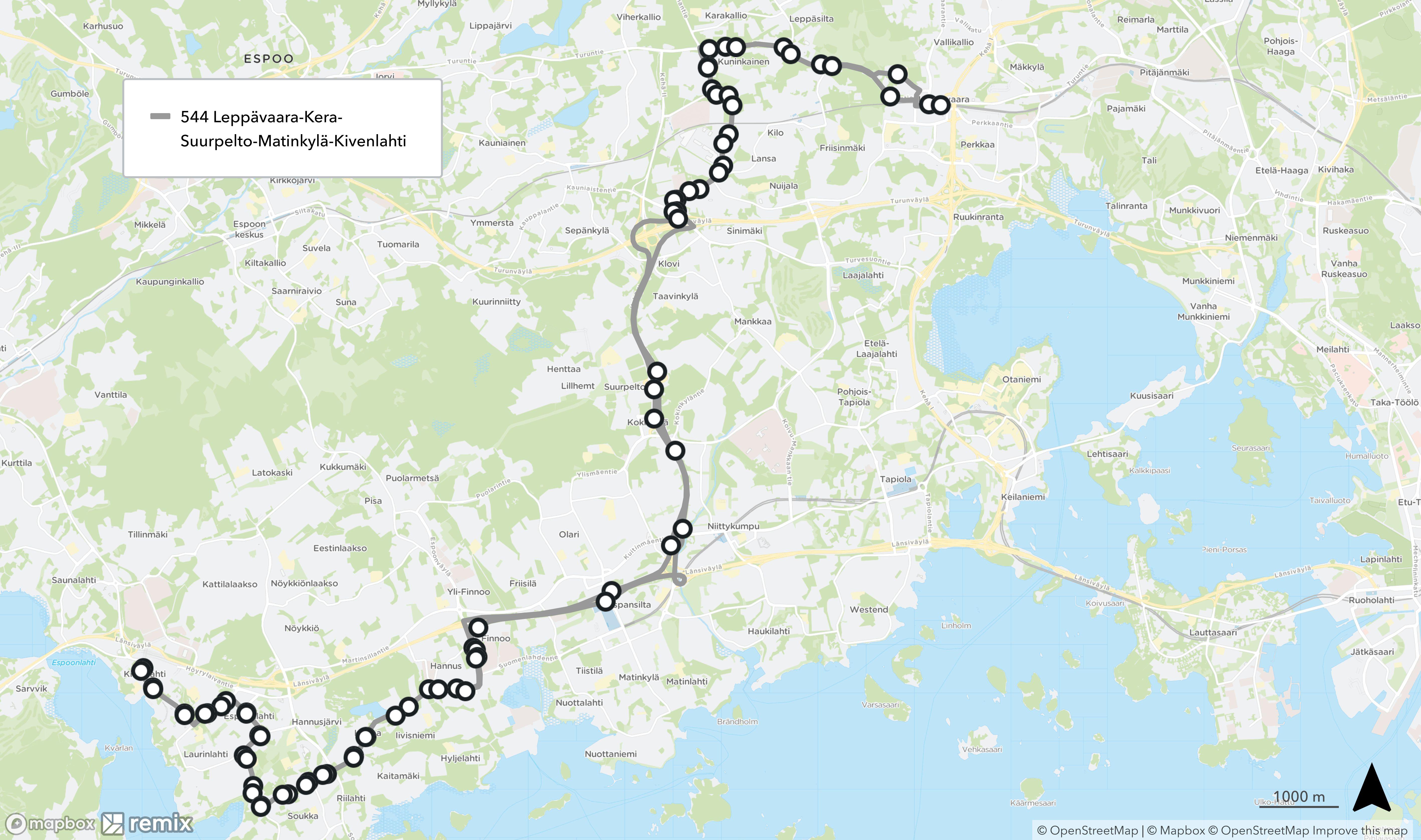 Kartalla esitetty linjan 544 reitti, johon emme ehdota muutoksia tässä linjastoluonnoksessa.