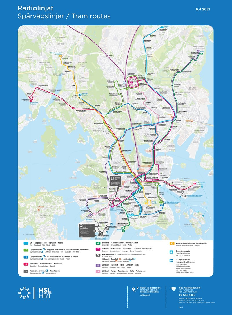 Tram routes until 2 May